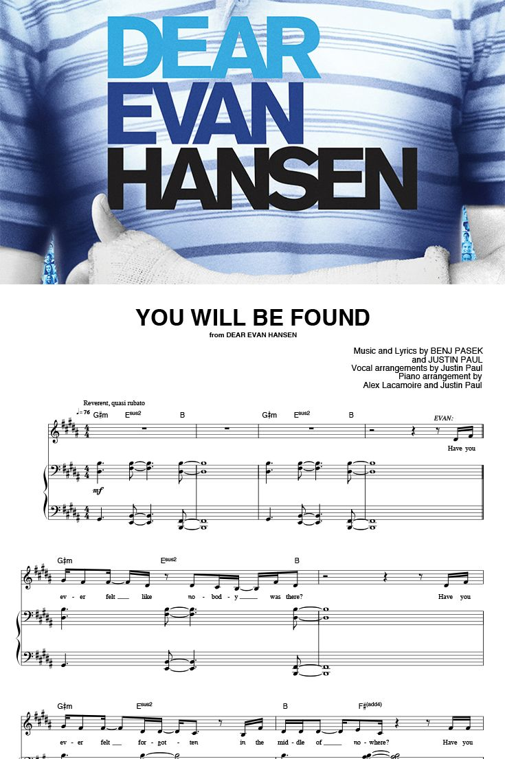 You Will Be Found From Dear Evan Hansen By Pasek Paul Piano