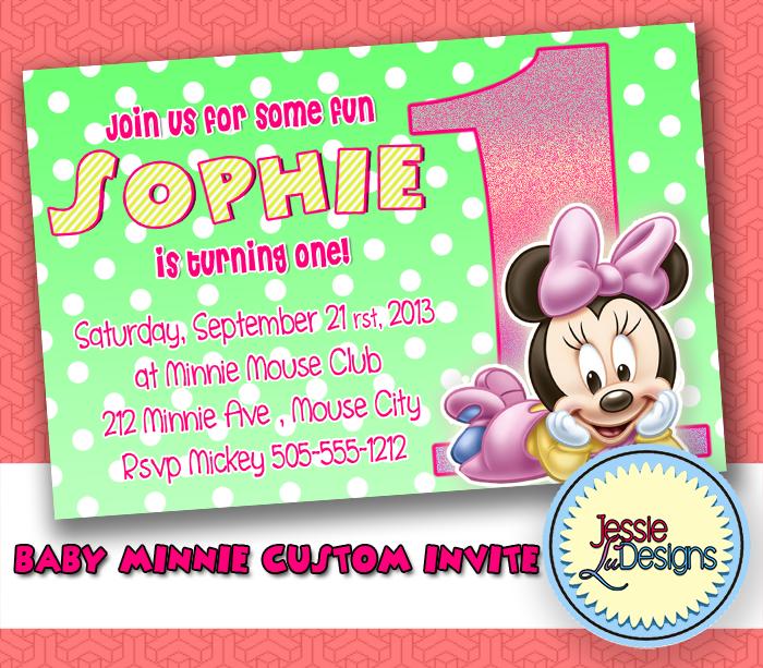 Baby Minnie Mouse First Birthday Custom Invitation