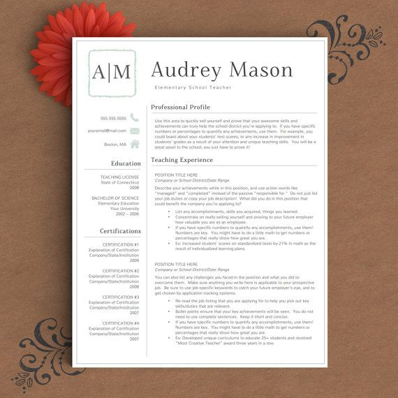 Teacher Resume Template for Word and Pages 1, 2  3 Page Resume