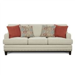 This Light Gray Sofa Is Accented With Nailhead Trim, Wood Legs, And Charles  Of London Style Arms. Fusion Burash Grey Linen Sofa With Nailhead Trim