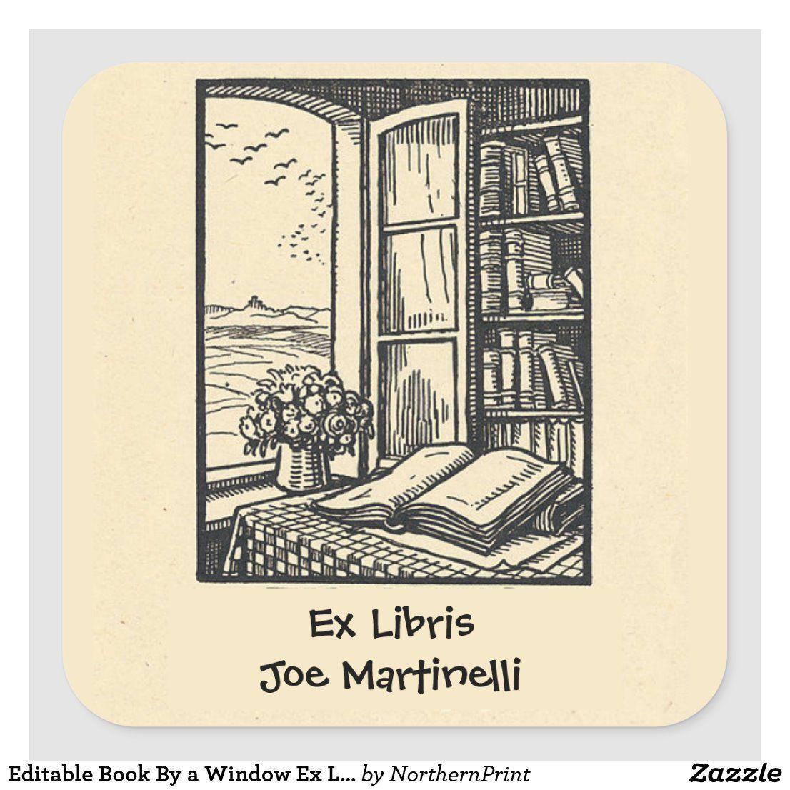 Editable Book By A Window Ex Libris Bookplate Zazzle Com In 2020 Book Plates Ex Libris Book Tattoo