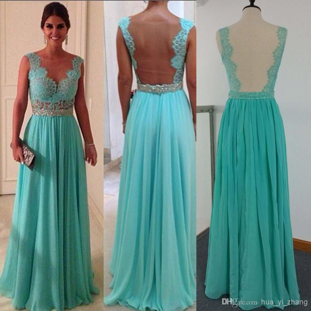 2014 Cheap Prom Dresses Sexy Green Chiffon and Sheer Back With ...