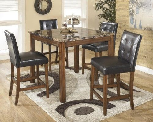 Signature Design By Ashley Theo 5 Piece Counter Height Dining Table Set Dining Room Furniture Dining Room Sets Counter Height Table Sets