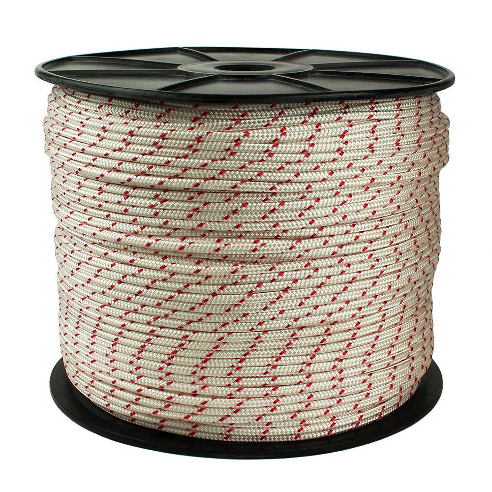 Crown Bolt 1 4 In X 1300 Ft Polypropylene Diamond Braid Rope White And Red 67070 Products Poly Rope Braids 3 Strand Twist