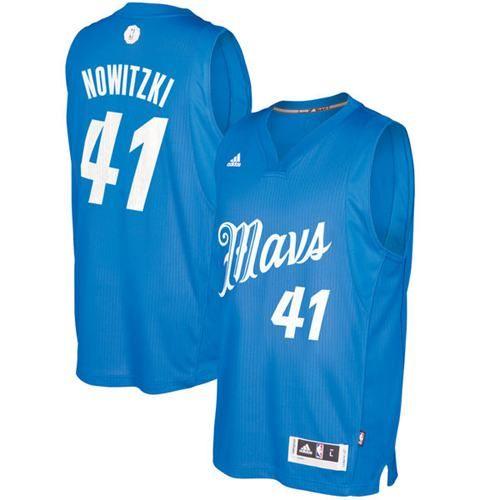 45392b441ad Mavericks  41 Dirk Nowitzki Sky Blue 2016-2017 Christmas Day Stitched NBA  Jersey