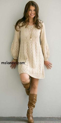 cc23f4e5edc3e37 вязаные платья спицами фото | Knitting/Mezgimas | Вязание, Платья ...