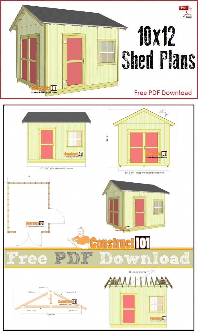 Shed Plans 10x12 Gable Shed Pdf Download Avec Images Cabanon Maison Plans