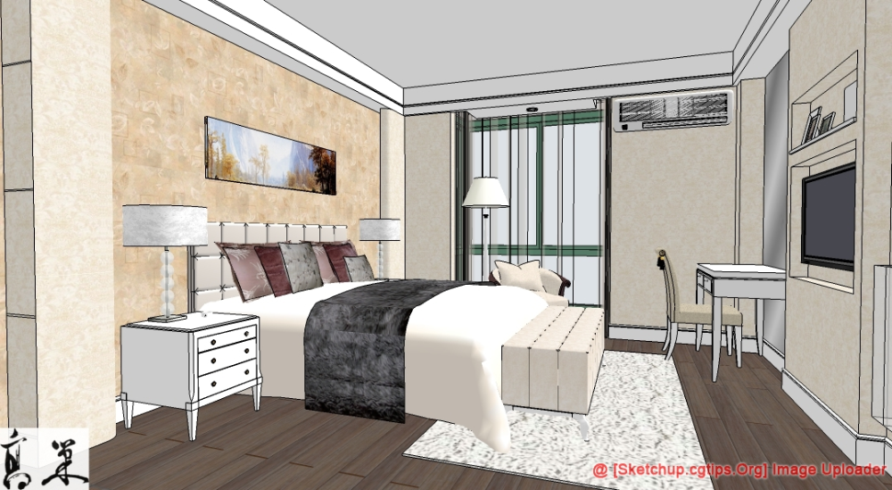 1110 Interior Bedroom Scene Sketchup Model Free Do Vozeli Com