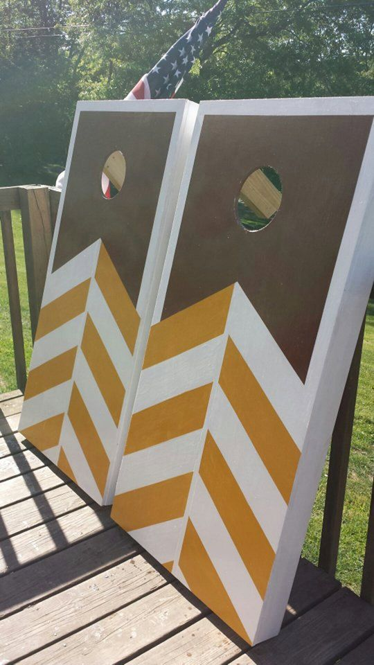 Golden Rustic Brown Chevron Pattern Cornhole By CountryCornholes Inspiration Corn Hole Pattern