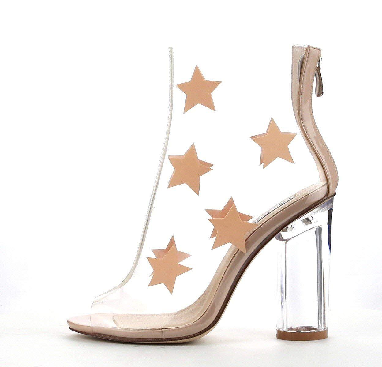 80ca4e329ef Cape Robbin GRACY-2 Womens Clear Lucite Perspex Stars Open Toe Ankle ...