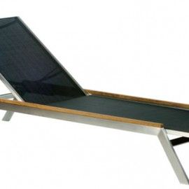 tumbona de acero y textilene detalles de madera de teca - Tumbonas Madera