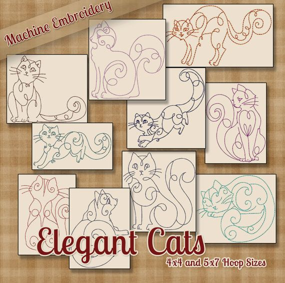 Redwork gatos elegante máquina bordado patrones / diseños 4 x 4 y 5 ...