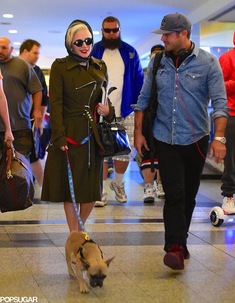 Lady Gaga and Taylor Kinney at NYC Airport October 2015  
