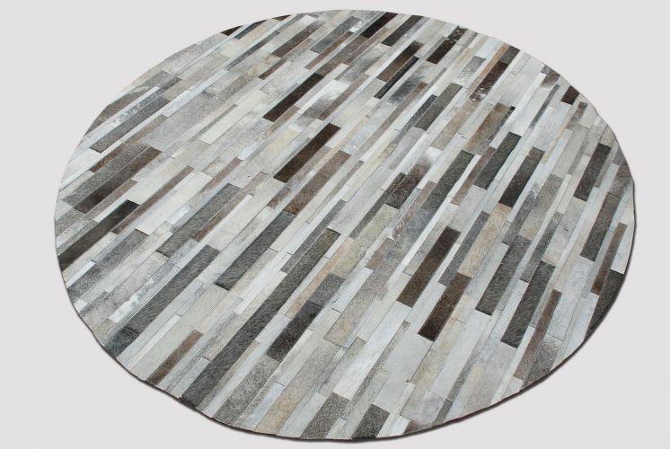 Gray Brown White Round Patchwork Rug Soft Cowhide Skin Leather Cowskin Carpet Hide Design