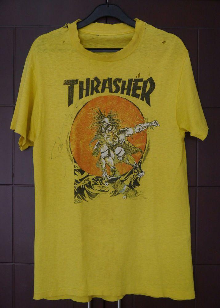 2265f035 vintage RARE 80s THRASHER skateboard PUSHEAD artwork GRUNGE PUNK t-shirt  M/S #GraphicTee