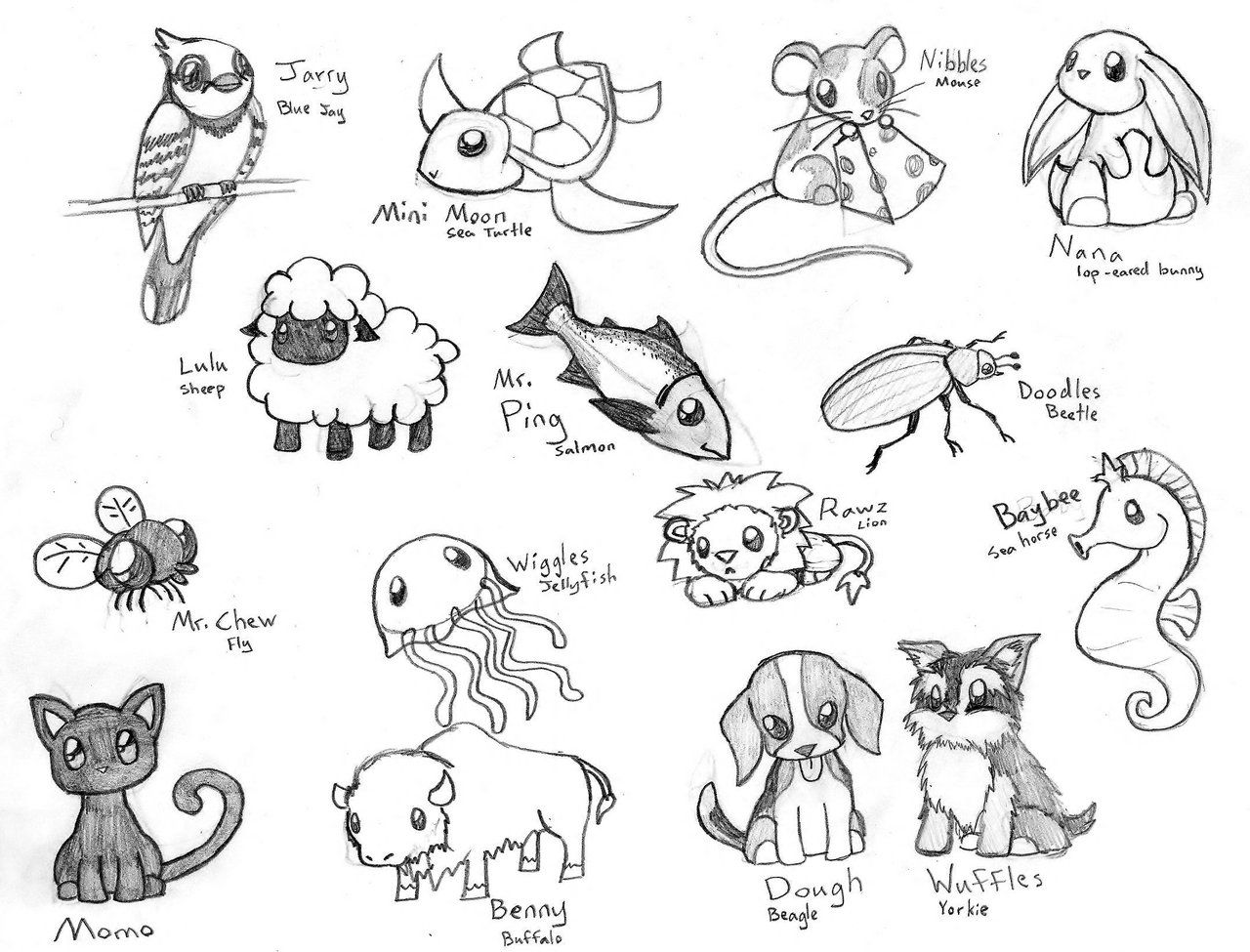 Cute Chibi Animals 3 By Crimsonangelofshadow On Deviantart Baby Animal Drawings Easy Animal Drawings Animal Sketches Easy