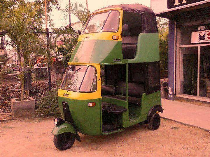 A double-Decker tuk tuk or auto-rickshaw