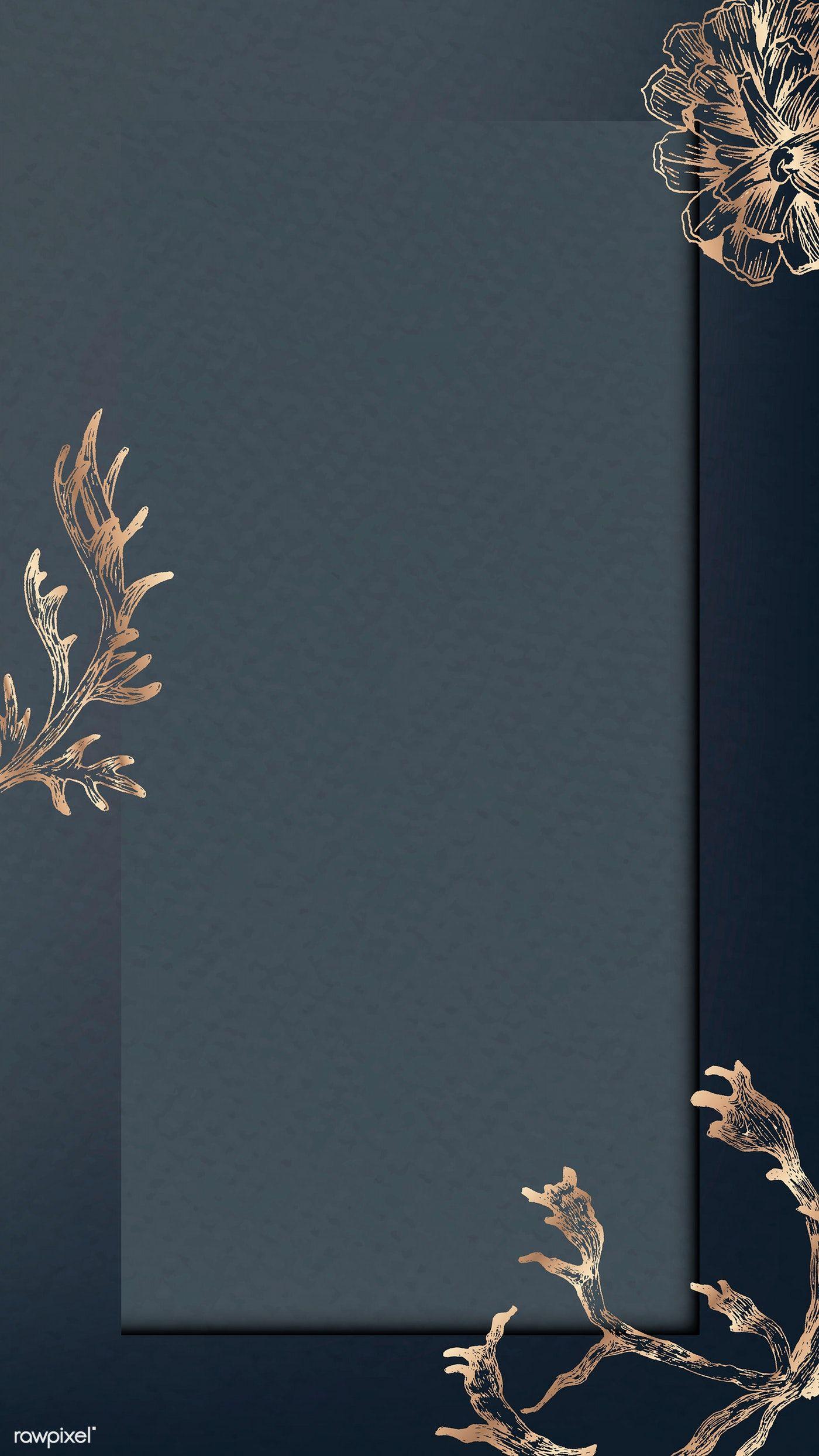 Download Premium Vector Of Bronze Winter Pattern On Blue Mobile Phone In 2020 Flower Background Wallpaper Floral Border Design Floral Poster