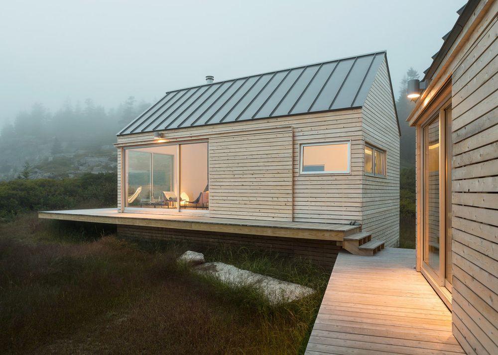 Trio Of Prefab Timber Cabins Form Rustic Maine Getaway    Curbedclockmenumore Arrow :