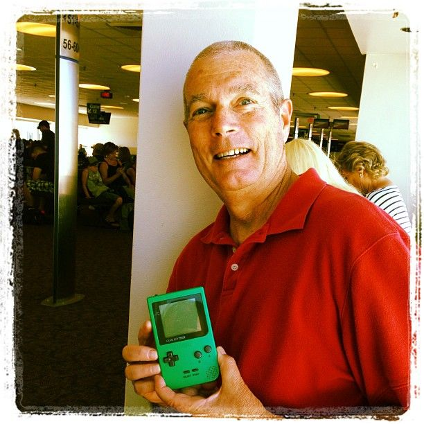 nmcgillicuddy Throwback Sunday! Waiting at the airport with my faja...look over...and he is playing Tetris on his Gameboy! #gameboy #dad #hahaha @juggernautproductions