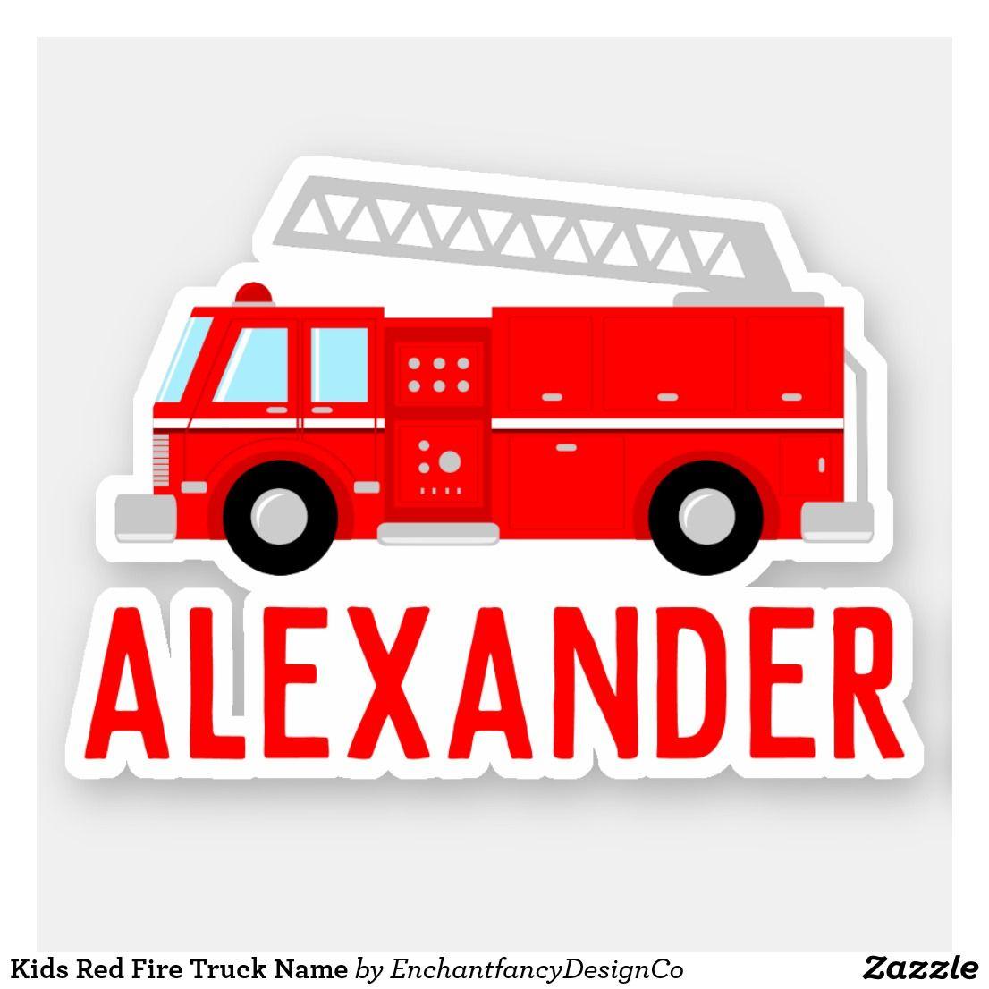 Kids Red Fire Truck Name Sticker   Zazzle com in 2019