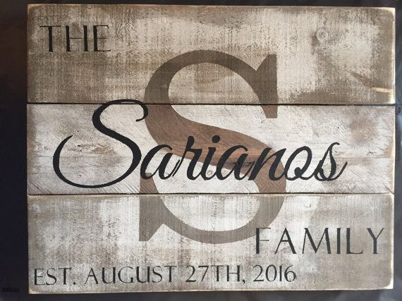 Custom Wood Name Sign Personalized Wedding Gift Pallet Last Rustic Family Est Distressed TF