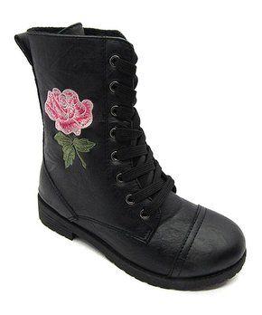 d43798848493 Black Floral Millie Combat Boot