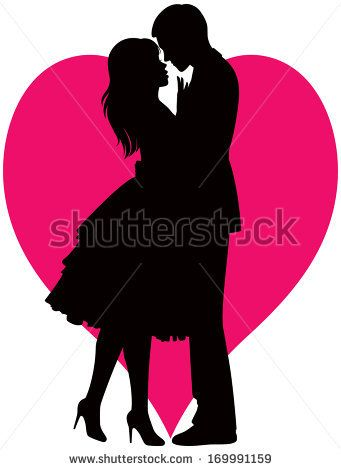 Illustration Black Silhouette Of Lovers Embracing On A White