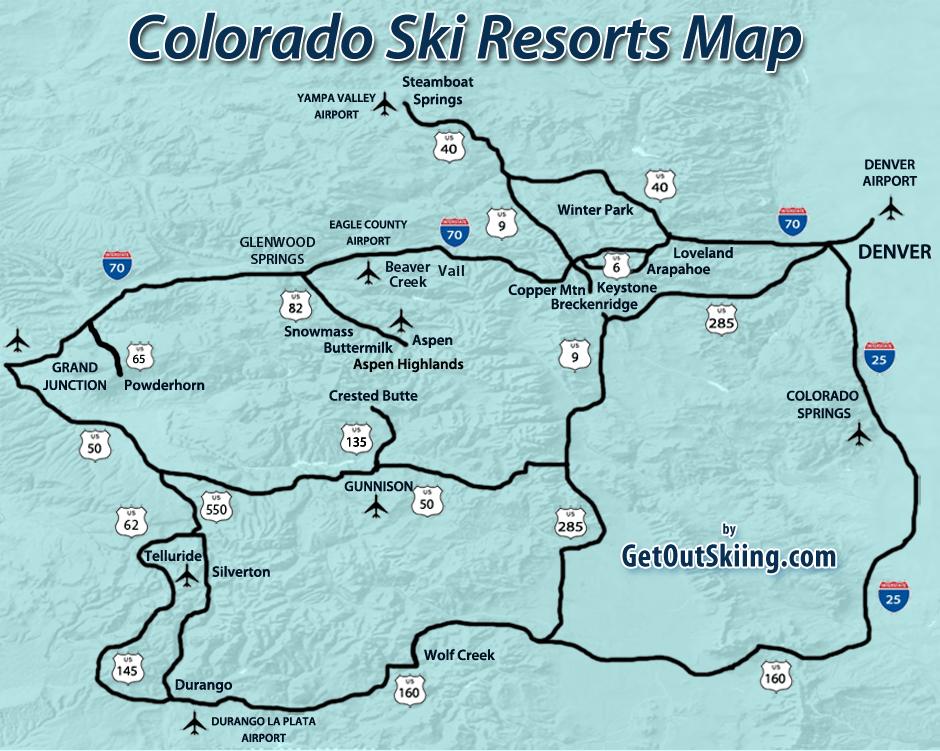 Colorado Ski Resorts Map   GetOutSkiing.com   Vacation Spots ...