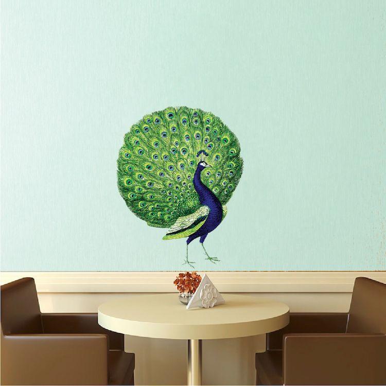Peacock Wall Decal Mural Animal Adhesives Beautiful Bird Wall