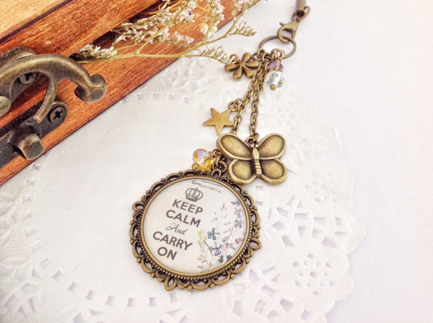 Planner Charm - Keep Calm and Carry On, Bag Dangles, Filofax Charm, Phone Charm by PrettySang on Etsy