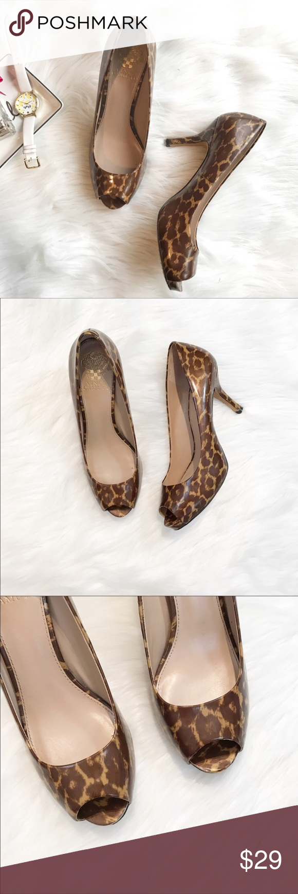 """Vince Camuto Cheetah Heels You'll go WILD over these peep toe pumps!  Leather uppers, minimal wear on soles, some wear on under side of heel (at bottom) these shoes are slightly shimmery cheetah print and are best described as a patent leather. Size 8. Heel is just under 3.5"""". No trades, offers welcome. Vince Camuto Shoes Heels"""