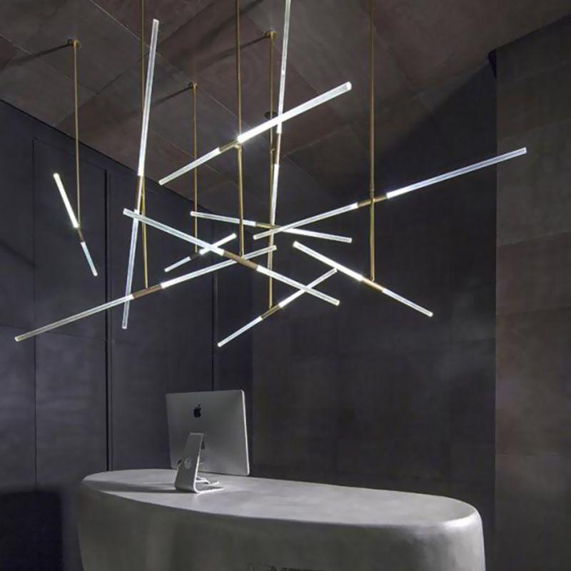 Arts Deco Ac85 265v Modern Led Pendant Lights For Lobby Dining Living Room Gold Black Acrylic Suspension Lumi