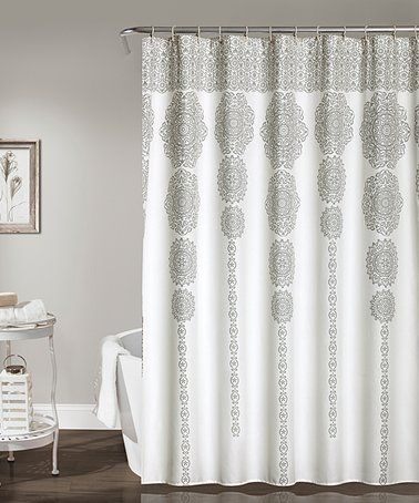 This White Gray Medallion Column Shower Curtain Is Perfect