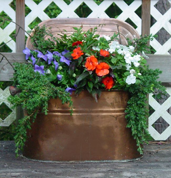 Walk In Garden Box: Copper Boiler With Flowers For A Wedding