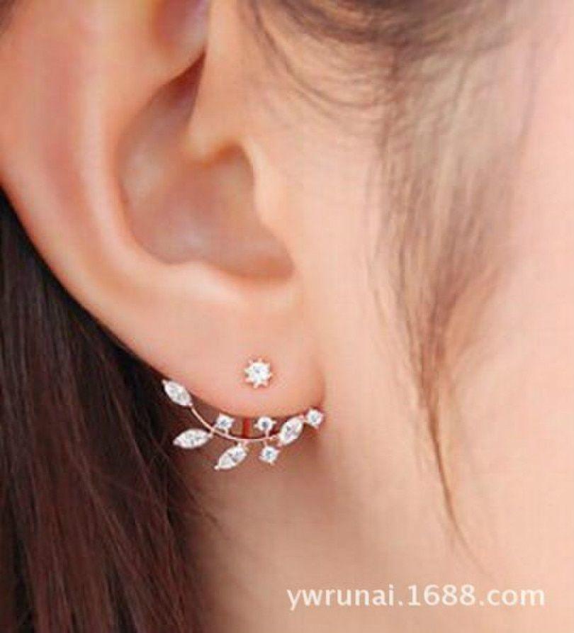 Version Jewelry Personality Leaves Earrings Bohemian Crystal Earrings Earrings Metal Color Gold