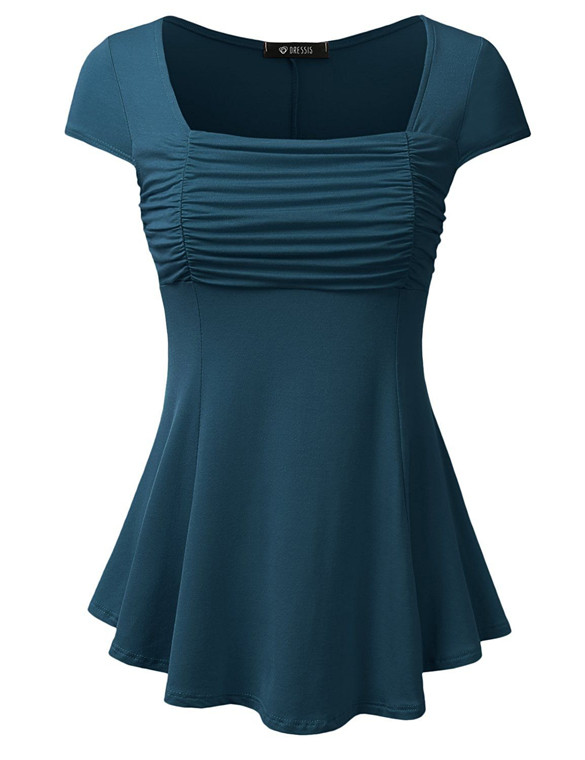 DRESSIS Womens Short Sleeve Front Shirring Flowy Top at Amazon