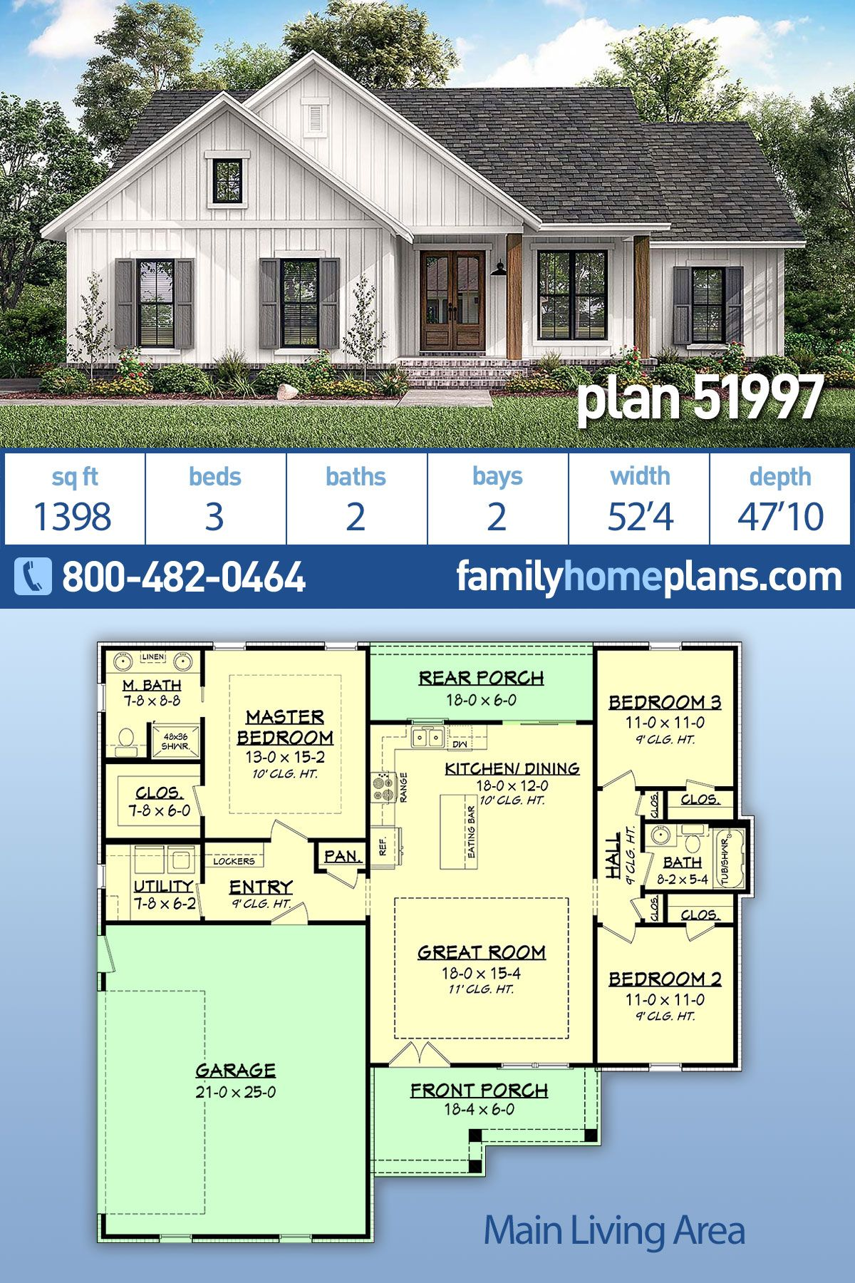 Traditional Style House Plan 51997 With 3 Bed 2 Bath 2 Car