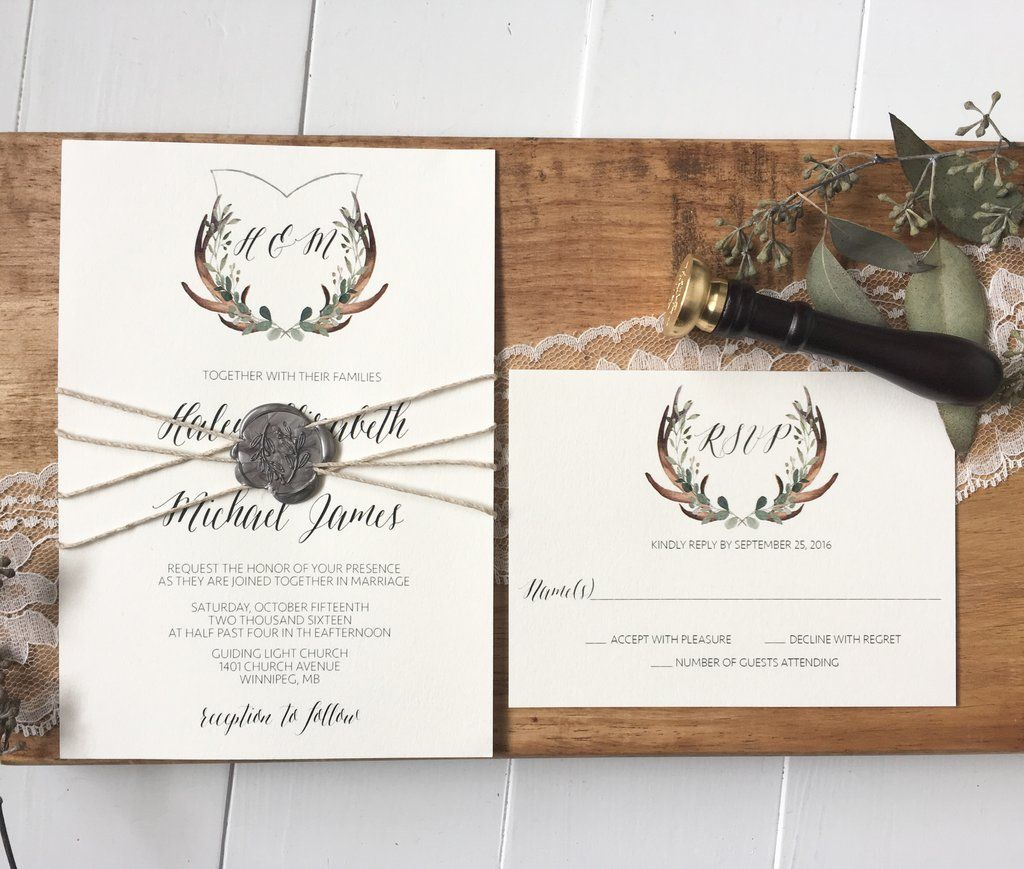 Rustic Wedding Invitation, Antler Wedding Crest, Wax Seal ...