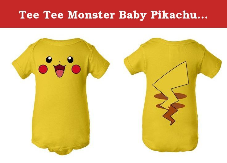 1ad9b05ab Tee Tee Monster Baby Pikachu Pokemon Inspired Onesie (3 months, yellow).  Custom design printed on 100% cotton lap shoulder onesie Lap shoulder  neckline for ...