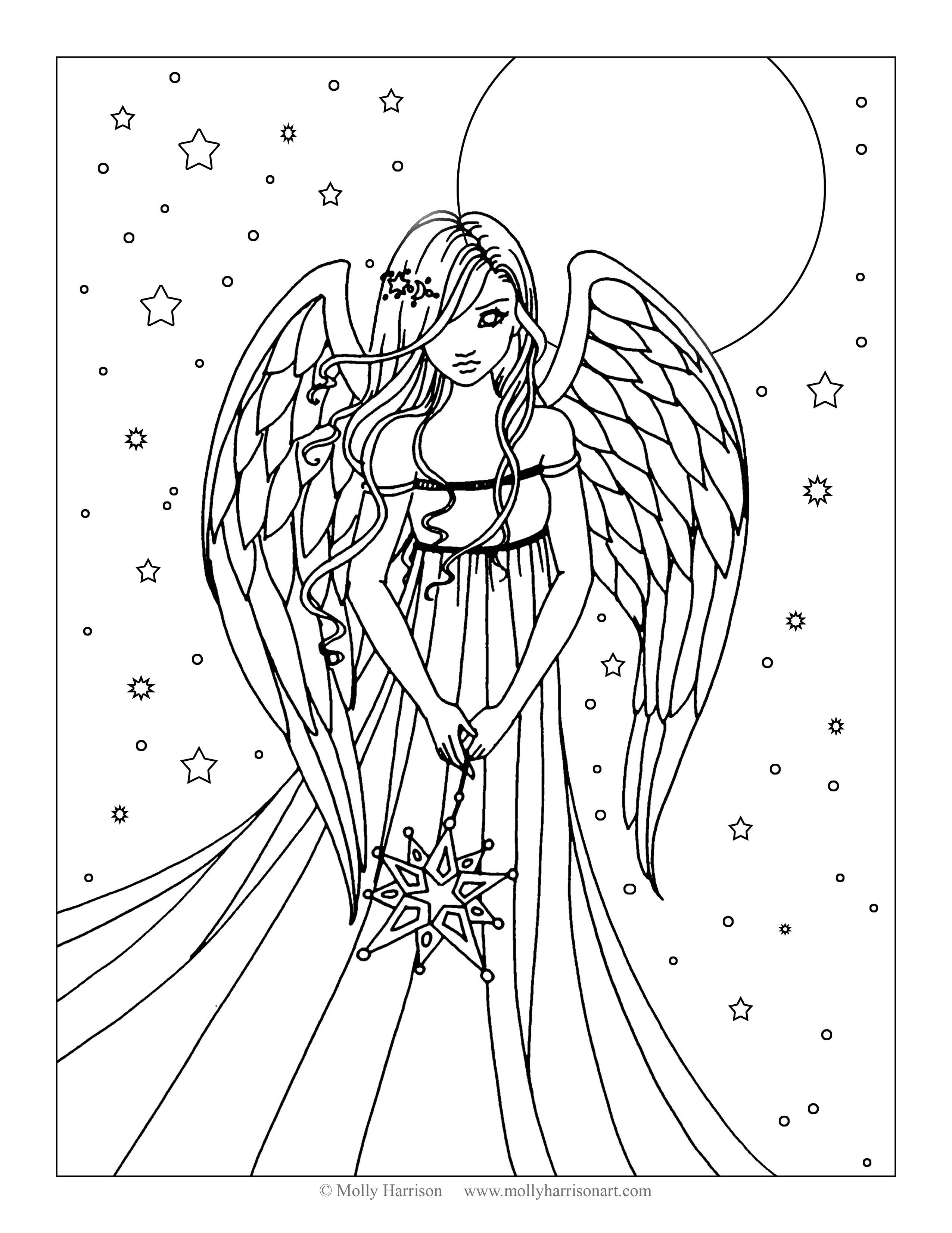 Free Angel Coloring Page By Molly Harrison Fantasy Art