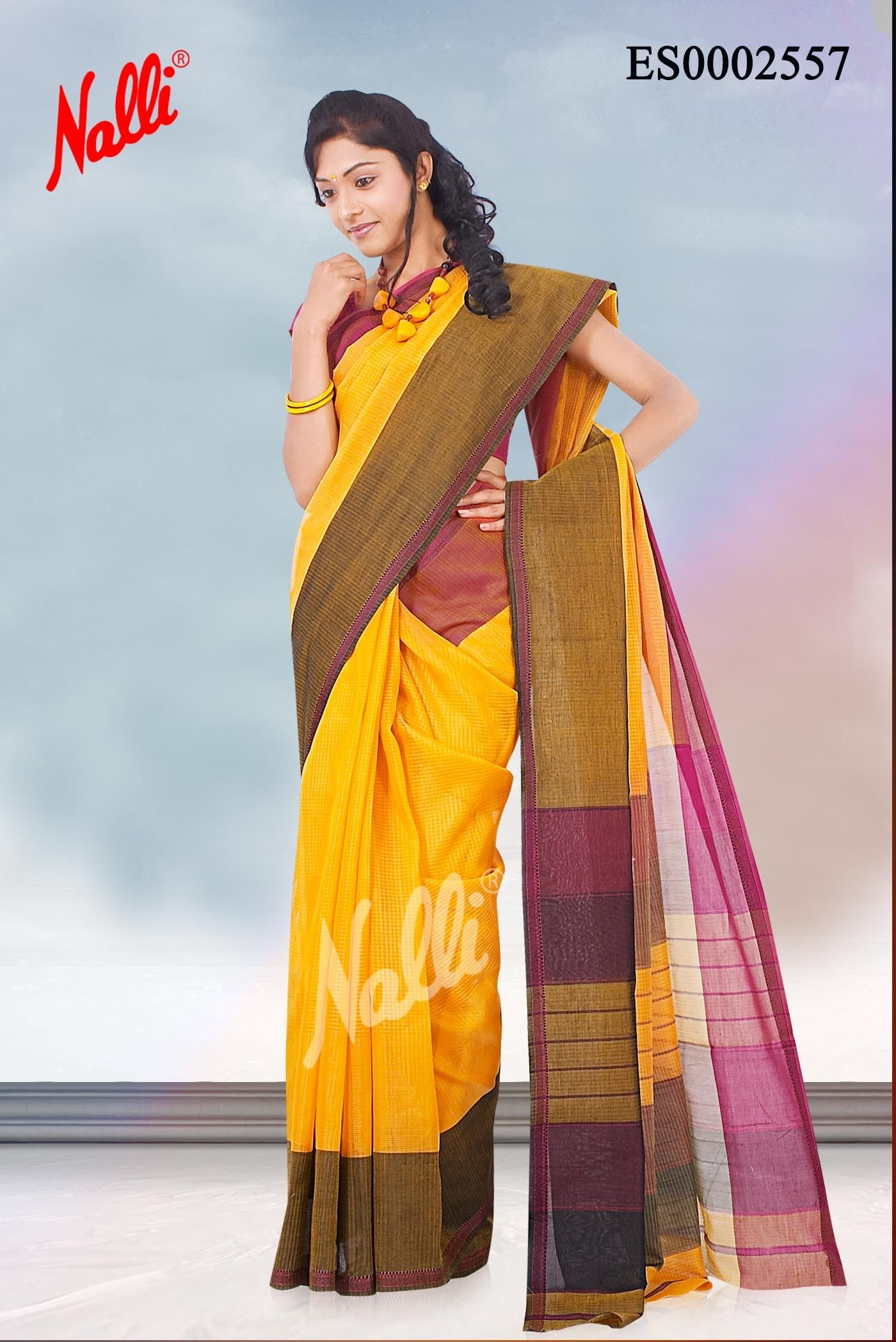 0f61617c75 Yellow Maheshwari Cotton Saree with Body plain and Long border. Includes  Unstitched Blouse. The