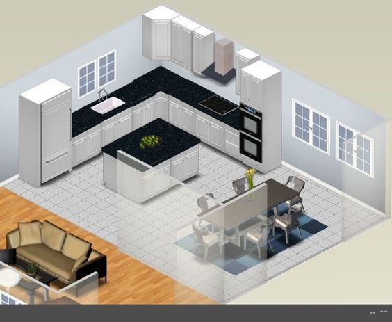 L shaped kitchen designs with island shaped kitchen for U shaped living room layout
