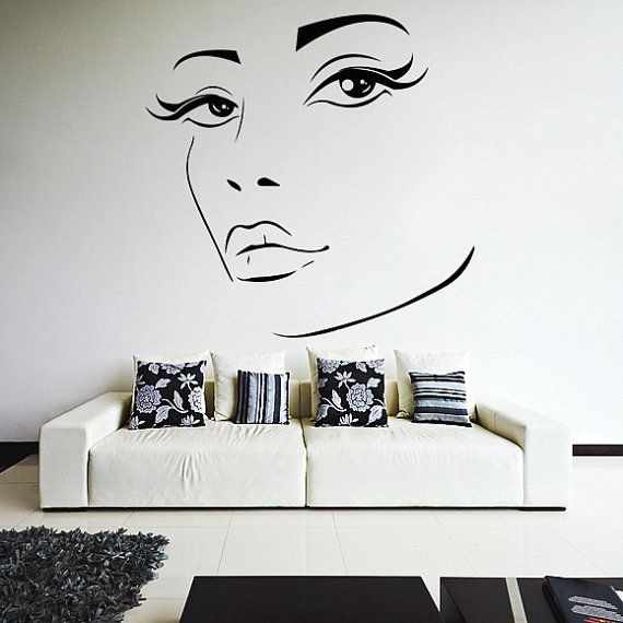 Vinyl wall decal womens elegant face silhouette sexy teens art decor removable home sticker diy mural free random decal gift