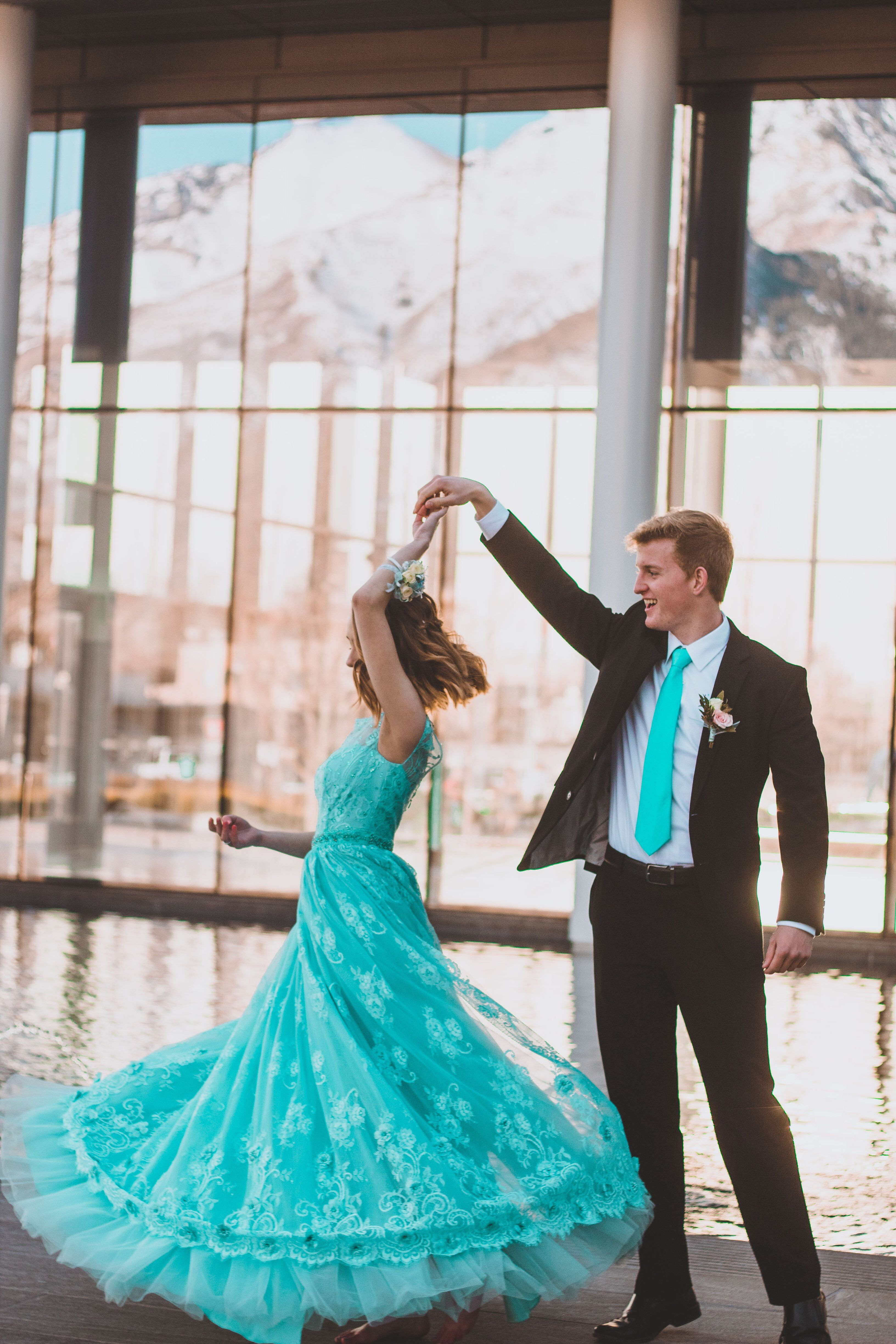 Dusty blue or teal prom dress, long and spinning picture ...
