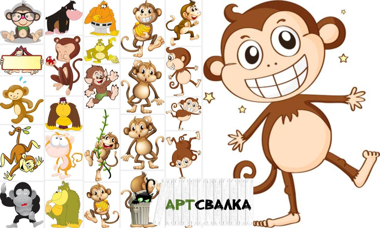 Надписями, смешные обезьянки в рисунках