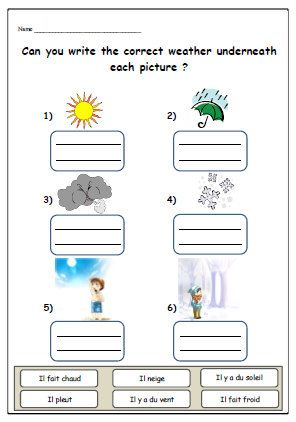 WEATHER FRENCH WORKSHEETTeaching Resources for by ...