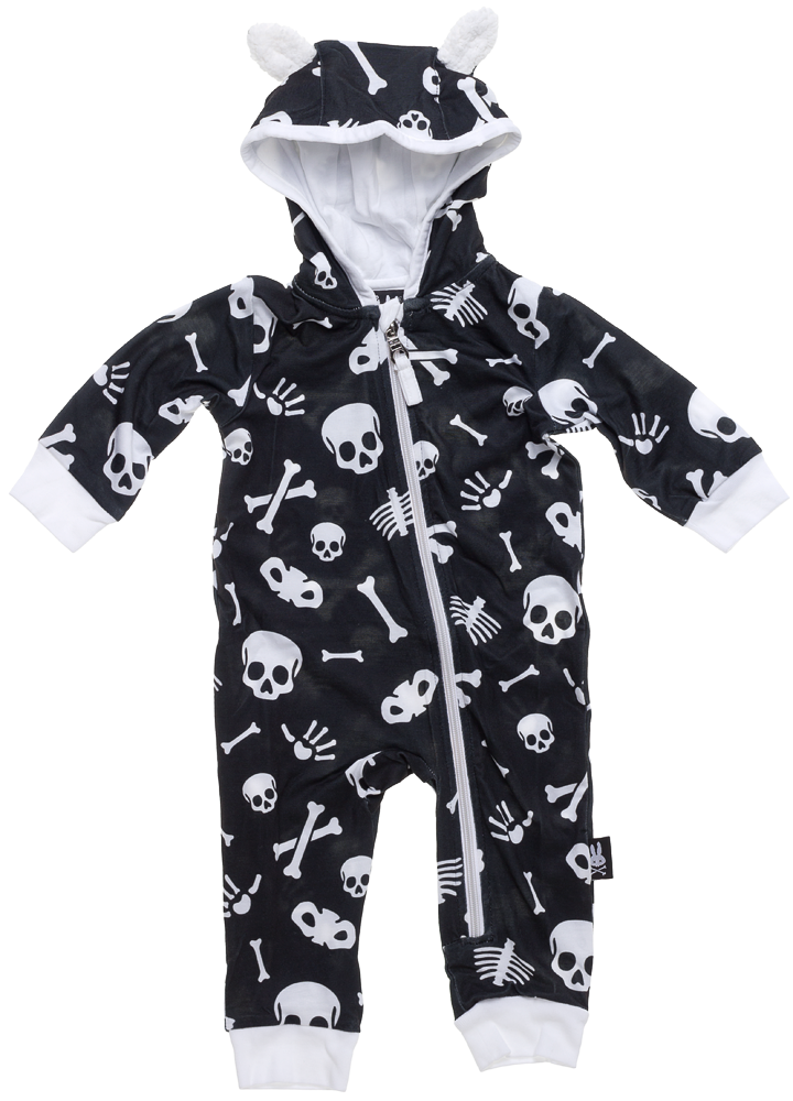 9adf10f62 SIX BUNNIES SKULLS HOODED ONE PIECE - Your little one is going to be ba-ba-bad  to the freaking bone in this adorable onesie! This super soft poly/spandex  ...
