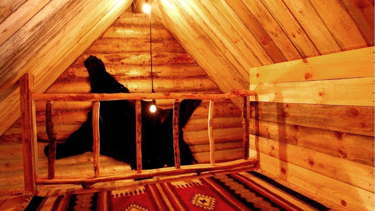 Free DIY Wood Railing in the Loft of an Off Grid Log Cabin