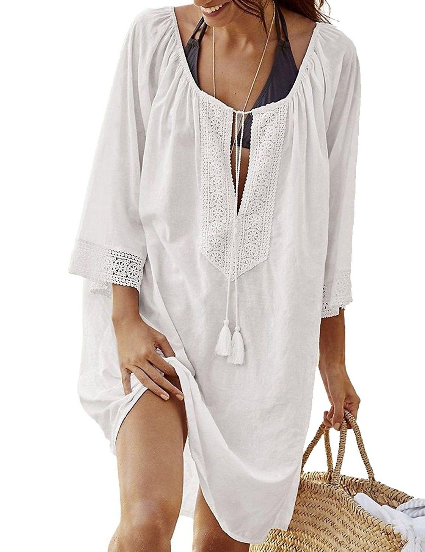 ff84e14474c6a Women's Clothing, Swimsuits & Cover Ups, Cover-Ups, Women's Bathing Suit  Cover Up Lace Swimwear Bikini Beach Top Sun Dress Maxi - White -  CY1806MSYAE ...